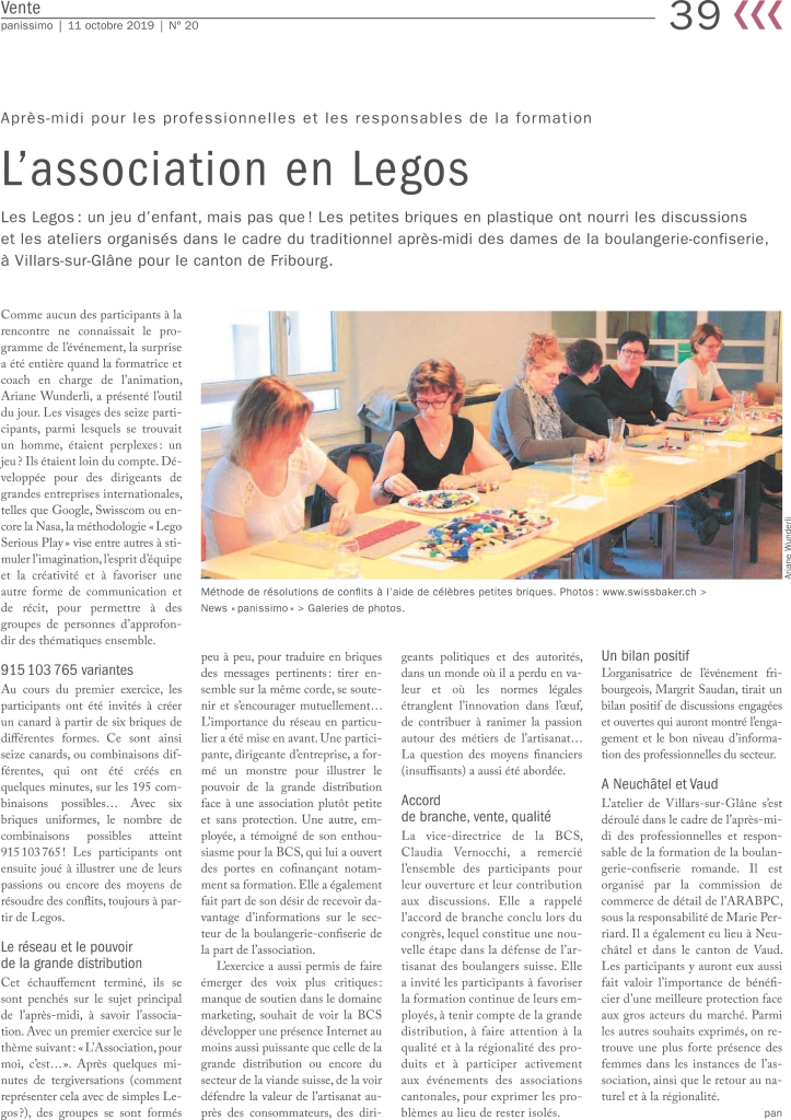 LEGO SERIOUS PLAY - ASSOCIATION SUISSE DES BOULANGERS, PATISSIERS, CONFISEURS - ATELIER - IMAGINATION - CREATIVITE COMMMUNICATION - FAIRE EMERGER - ESPRIT D'EQUIPE